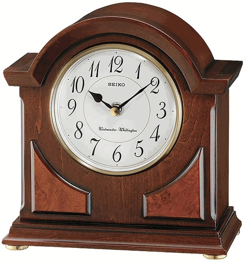"9""H Mantel Clock Brown Wooden"