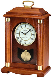 Seiko Clocks Mantel Clock Dark Brown Solid Oak QXJ114BLH