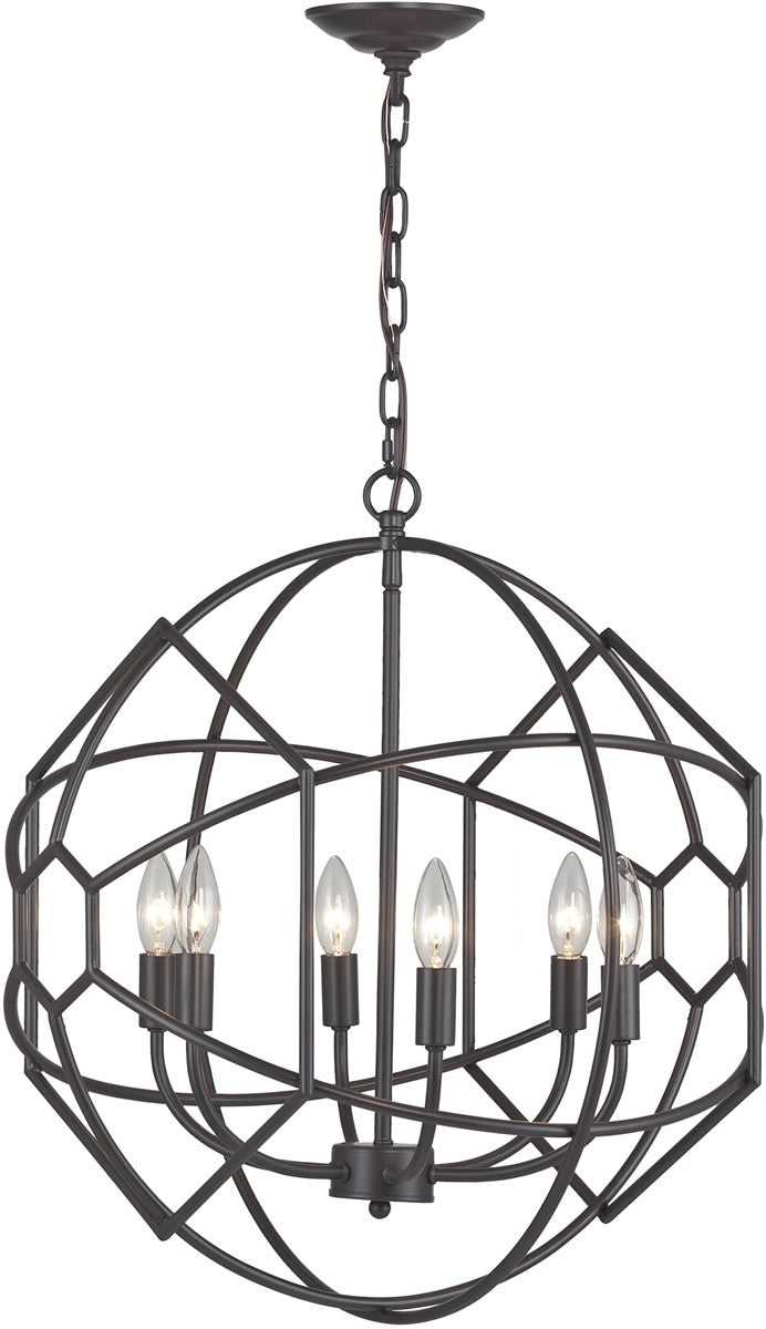 21 W 6 Light Rustic Iron Orb Chandelier With Honeycomb Metalwork Aged Bronze