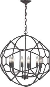 "21""w 6-Light Rustic Iron Orb Chandelier with Honeycomb Metalwork Aged Bronze"