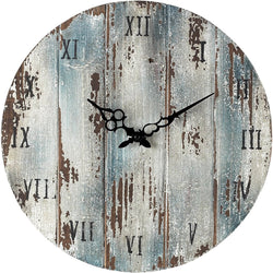 "16""h Wooden Roman Numeral Outdoor Wall Clock Belos Dark Blue"