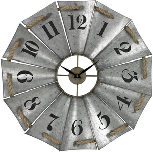 "29""H Aluminum and Rope Wall Clock Galvanised Metal"