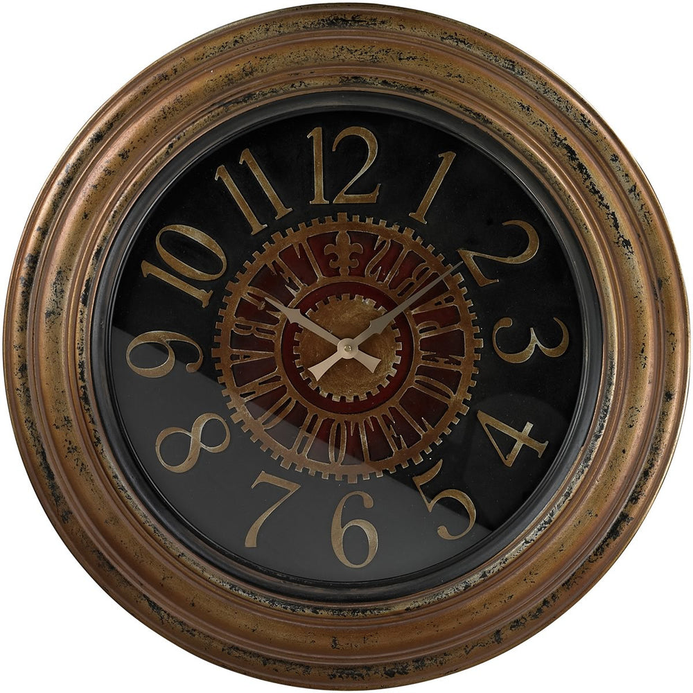 "30""h Large Clock with Distressed Handpainted Frame Burnished Gold"