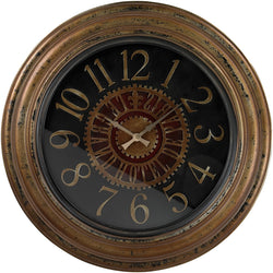 Sterling Large Clock with Distressed Handpainted Frame Burnished Gold 130003