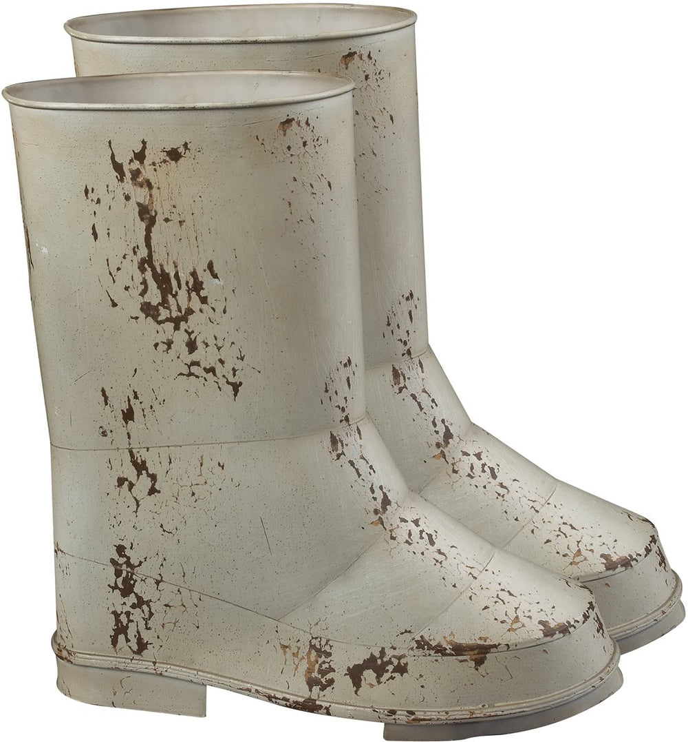 "0-017208>12""h Set of 2 Boot Planters Distressed Country Cream"