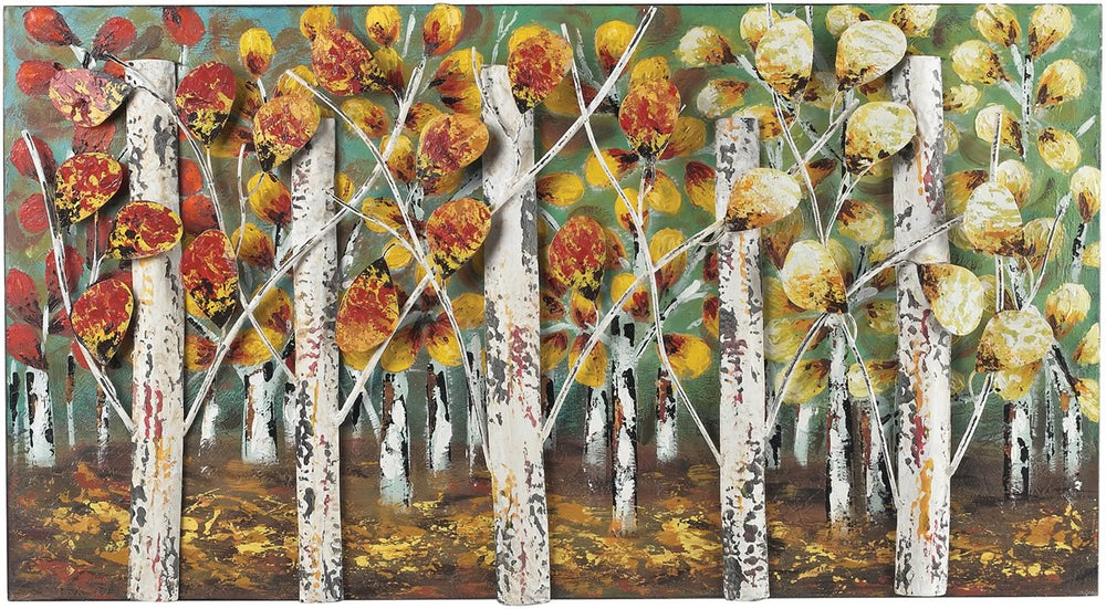 "20""H Autumn Birch Metal Wall Decor Autumn Colors"