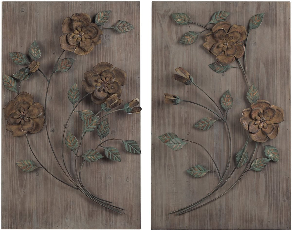 "30""H Set of 2 Wooden Wall Panel with Handpainted Metal Flowers Natural Washed Wood"