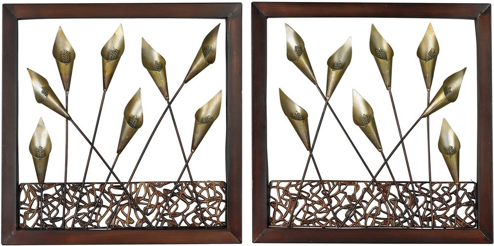 "16""H Set of 2 Framed Metal Tulip Wall Panels Dark Bronze"