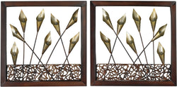 Sterling Set of 2 Framed Metal Tulip Wall Panels Dark Bronze 138012S2