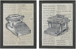 "16""h Set of 2 Antique Typewriter Prints on Glass Clear Etched Black"