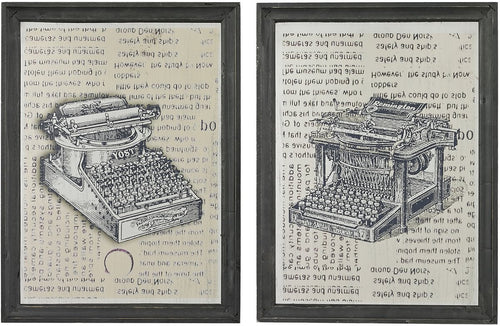Sterling Set of 2 Antique Typewriter Prints on Glass Clear Etched Black 268663S2