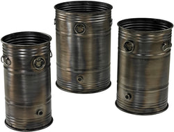 Sterling Set of 3 Industrial Oil Drum Planters Oxidized Metal 268668S3