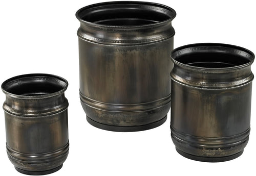 Sterling Set of 3 Oxidised Planters Oxidized Metal 268669S3