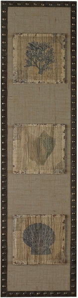 Sterling Coastal Hand Painted Tiles on Linen Distressed Wood 268682