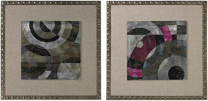 "24""H Contemporary Print on Aluminium set in Linen and Nail Head Surround Silver/Grey"