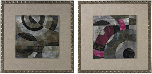 Sterling Contemporary Print on Aluminium set in Linen and Nail Head Surround Silver/Grey 268683S2