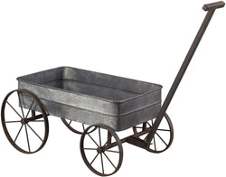 "10""h Metal Cart Planter with Handle Aluminum/Black"