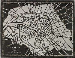 Sterling Laser Cut Map Of Paris Circa 1790 Distressed Black 5110117