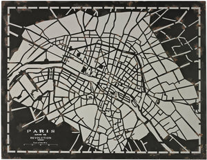 "34""H Laser Cut Map Of Paris Circa 1790 Distressed Black"