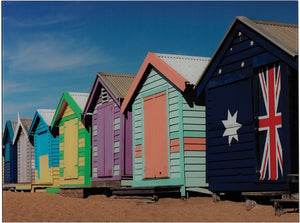 "25""H Beach Hut Image Printed on Glass Print"