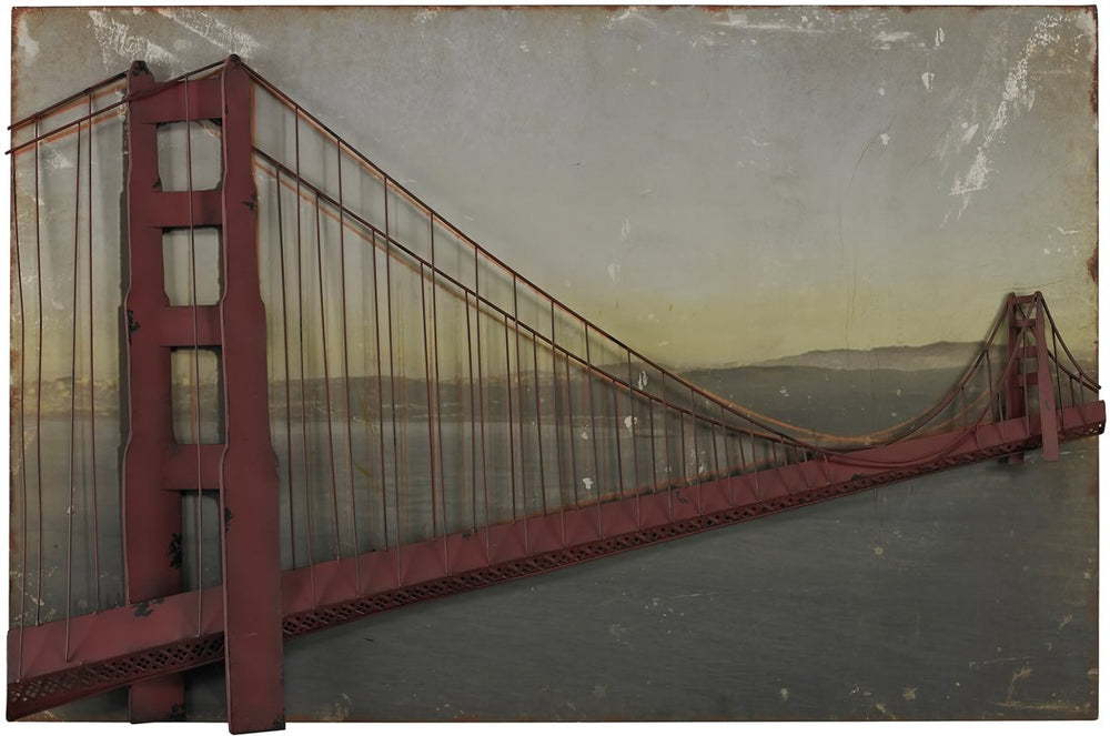 "28""H Golden Gate Bridge Set on Print Red Rust"