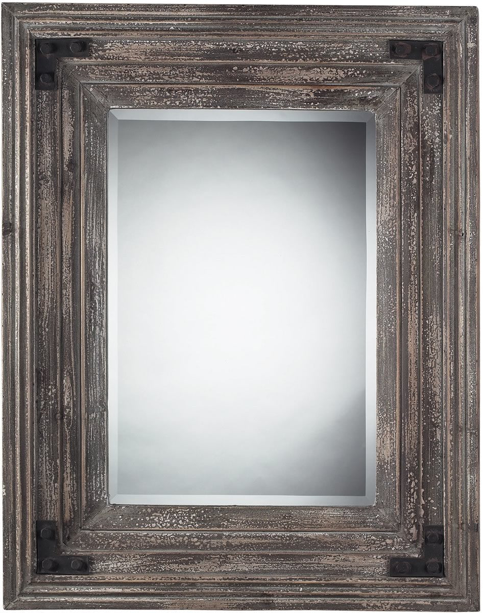 "30""H x 38""W Rectangle Mirror in Distressed Wood Reclaimed Wood"