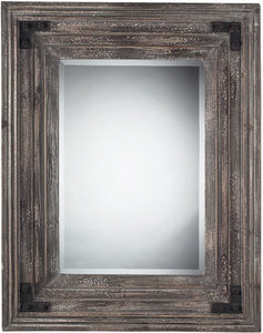 "30""H x 30""W Rectangle Mirror in Distressed Wood Reclaimed Wood"