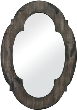 "28""H x 19""W Wood Framed Mirror Aged Wood/Grey Wash"