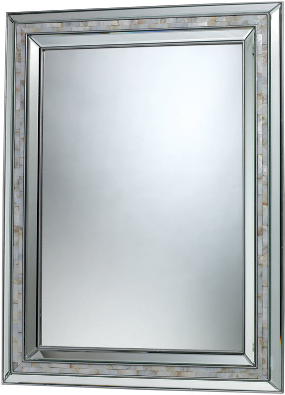 "39""H x 29""W Sardis Mirror Brushed Steel and Mother of Pearl Shell"