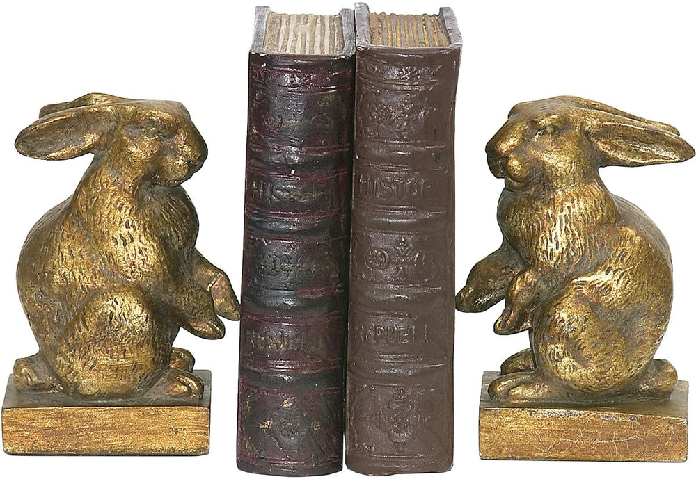 "5""H Pair Baby Rabbit Bookend Gold"