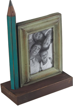 "4""H Pencil Picture Frame Green/Brown"
