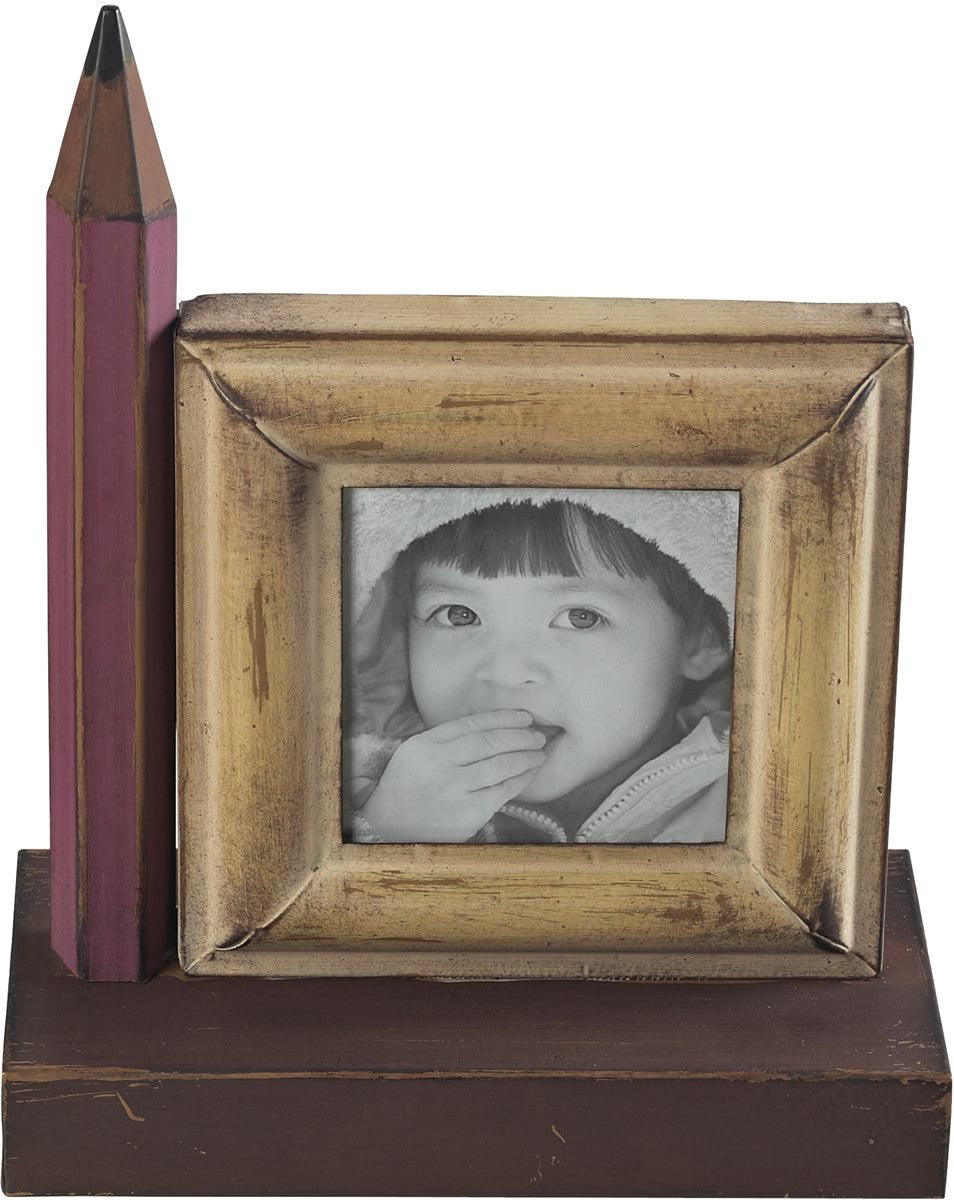 "4""H Pencil Picture Frame Red/Brown"