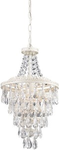 "11""W Clear Crystal Pendant Lamp White/Crystal"