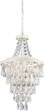 "16""W Clear Crystal Pendant Lamp White/Crystal"