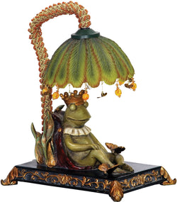 "12""h Sleeping King Frog 1-Light Table Lamp Greenwich"