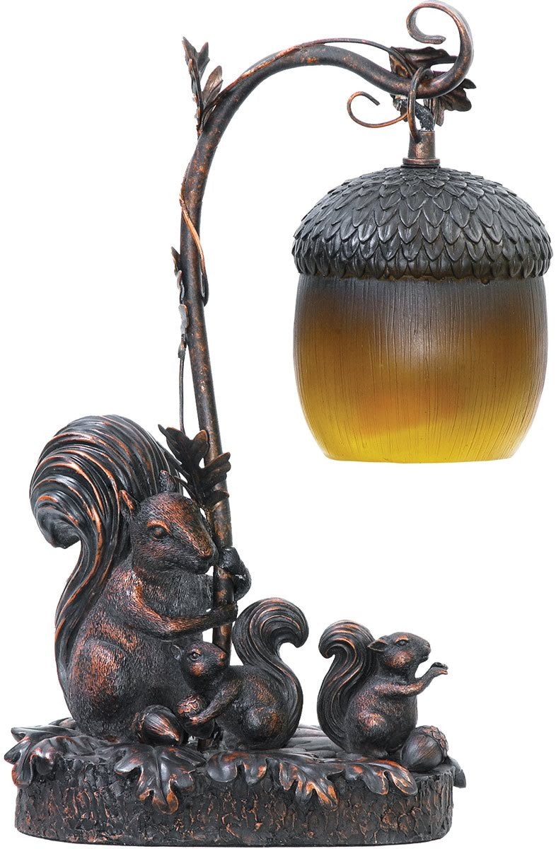 "15""H Squirrel Acorn Light 1-Light Table Lamp Burwell Bronze"