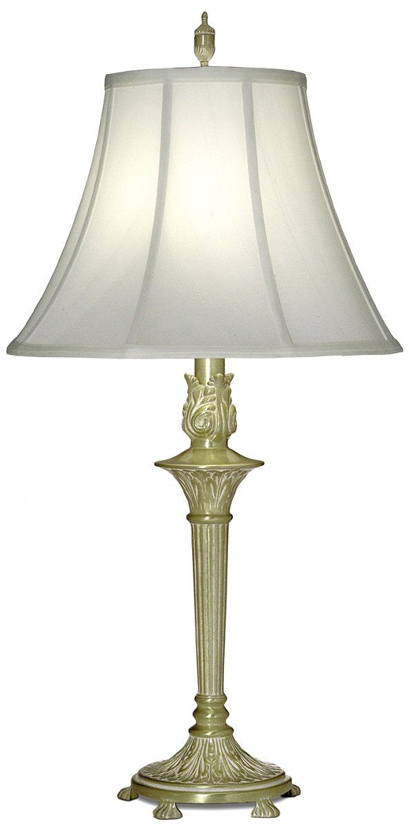 "33""H 1-Light 3-Way Table Lamp Satin Brass White Antique"