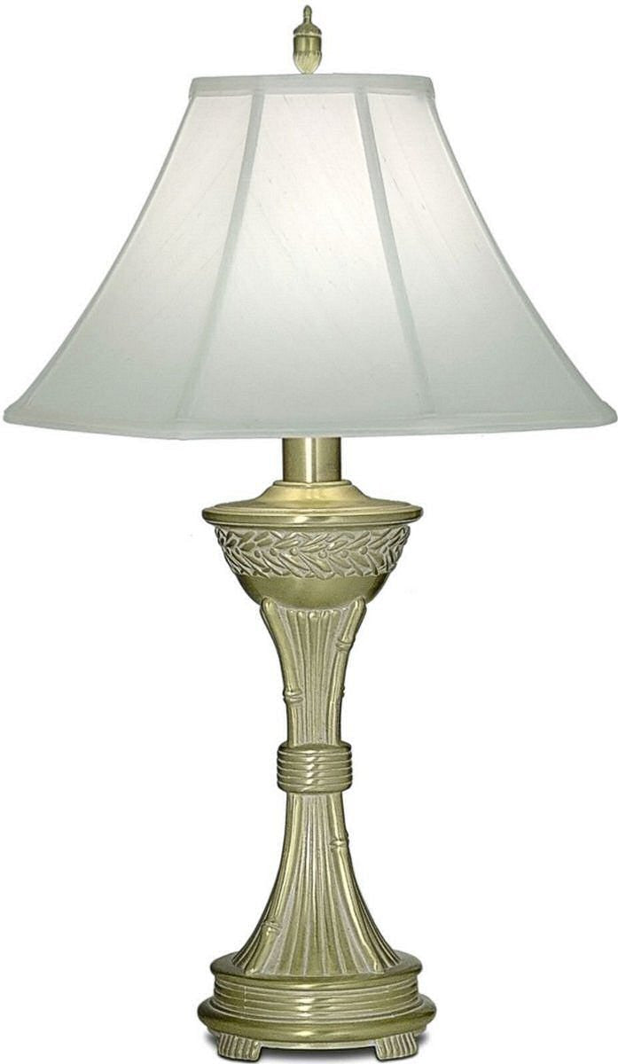 3-Way Table Lamp Satin Brass White Antique