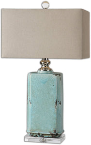 Uttermost 30 inchh Adalbern 1-Light Table Lamp Antiqued Crackled Blue / Polished Nickel 26162-1