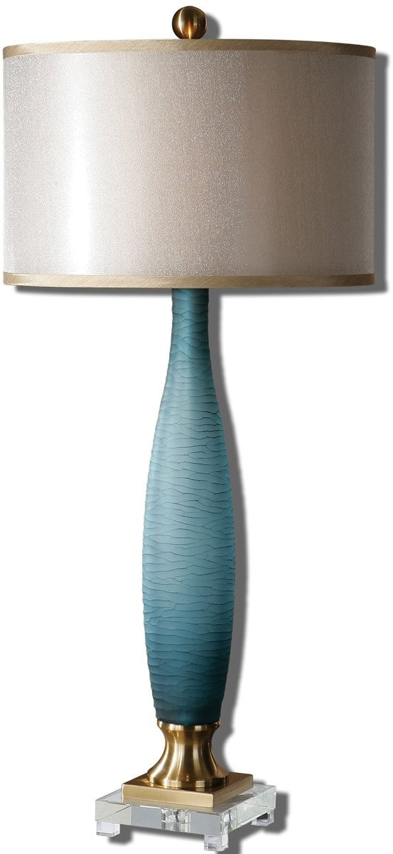 37h alaia 2 light table lamp frosted cobalt blue brushed brass