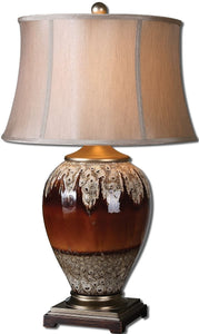 Uttermost 29 inchh Alluvioni 1-Light Table Lamp Glossy Rust Bronze / Antique Wood 27450
