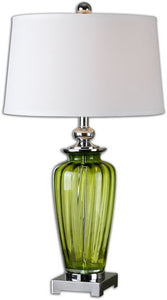 Uttermost 30 inchh Amedeo 1-Light Table Lamp Green / Polished Nickel 26593