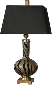 Uttermost 32 inchh Amur 1-Light Table Lamp Polished Black 26293