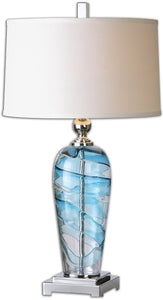 Uttermost 31 inchh Andreas 1-Light Table Lamp Polished Nickel 26137-1