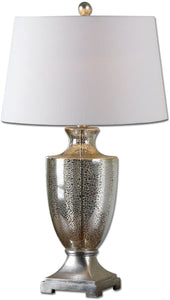 Uttermost 31 inchh Antonius 1-Light Table Lamp Antiqued Mercury / Silver Leaf 27464
