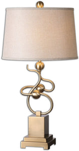 Uttermost 30 inchh Apollonia 1-Light Table Lamp Plated Brushed Brass 26168