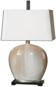 Uttermost 26 inchh Baycliff 1-Light Table Lamp Beige / Ivory / Silver Leaf 27664