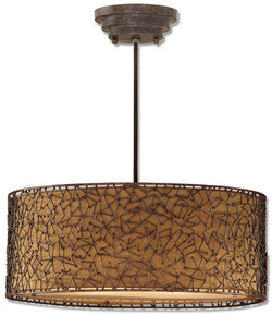 Brandon 3-Light Hanging Shade Distressed Dark Brown