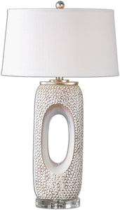 Uttermost 31 inchh Carbonado 1-Light Table Lamp Distressed Ivory / Silver 26344