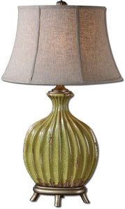 Uttermost 33 inchh Carentino 1-Light Table Lamp Green/Silver 27454